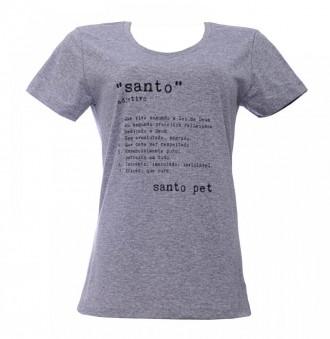 Camiseta - Santo - Feminina Baby Look - Cinza