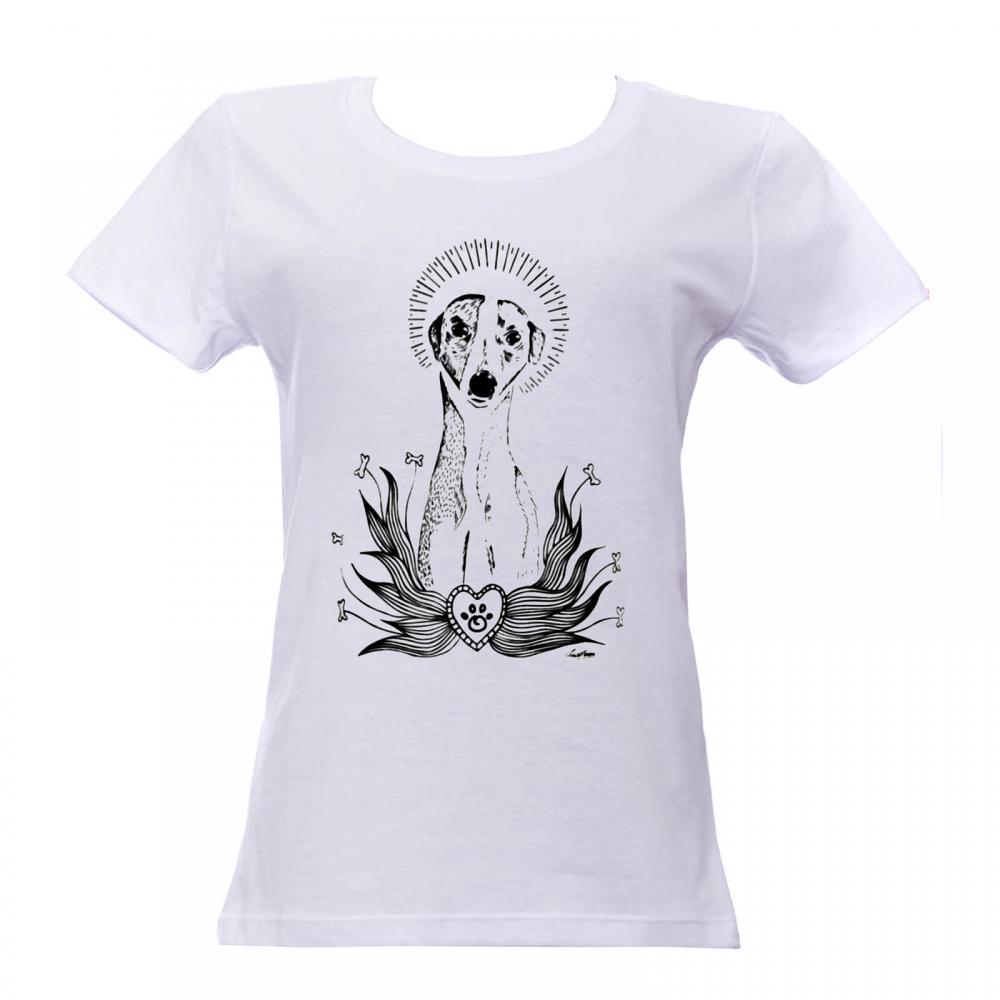 Camiseta - Cachorro - Feminina Baby Look - Branca